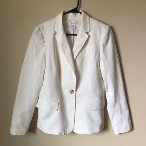 Kenar white linen jacket with lining
